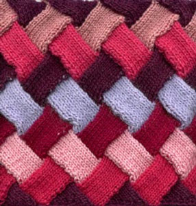 Entrelac Square: Free #Knit Afghan Square roundup on Moogly!