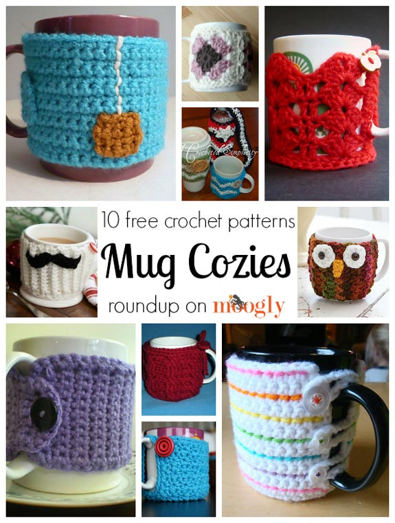 Free #crochet mug cozies in a variety of styles in a roundup on Moogly!