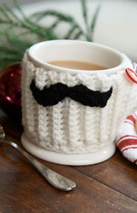 Mustache Mug Hug: Free #crochet mug cozies in a variety of styles in a roundup on Moogly!