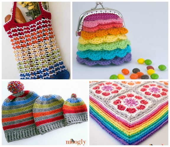 Crochet a Rainbow! :D Get 14 free #crochet patterns on Moogly!