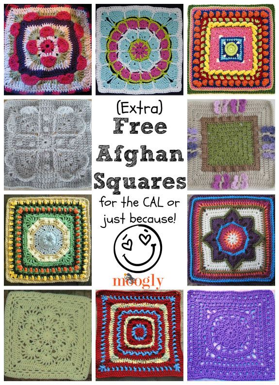 "Whether or not you've joined the Moogly Afghan Crochet-a-Long, you'll want to check out these 10 gorgeous patterns for free afghan squares - all 12"" and using a 5.5mm hook!"
