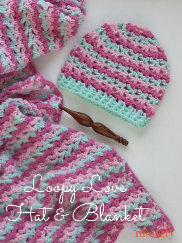 Now there's a Loopy Love Hat! Get the free #crochet pattern for the hat in 5 sizes - and the blanket in 7 sizes! From mooglyblog.com