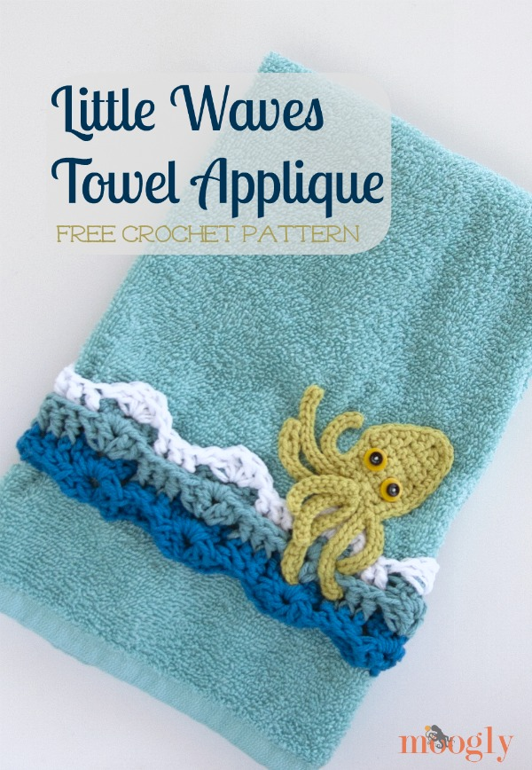 Free Pattern Little Waves Crochet Towel Applique