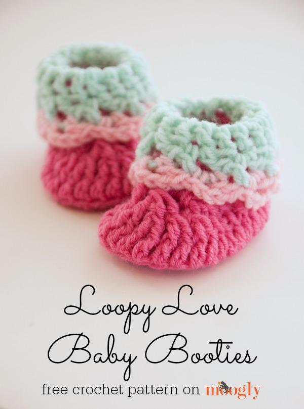Free Crochet Pattern Loopy Love Newborn Baby Booties