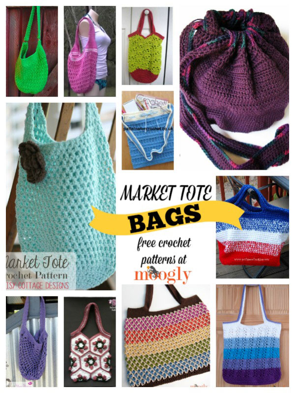 Free Crochet Patterns For Bags And Totes : Free Market Tote Crochet Patterns! Get them all at Mooglyblog.com # ...