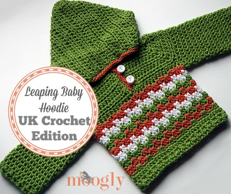 The Leaping Baby Hoodie is now available in UK #Crochet Terms! Free pattern on Mooglyblog.com