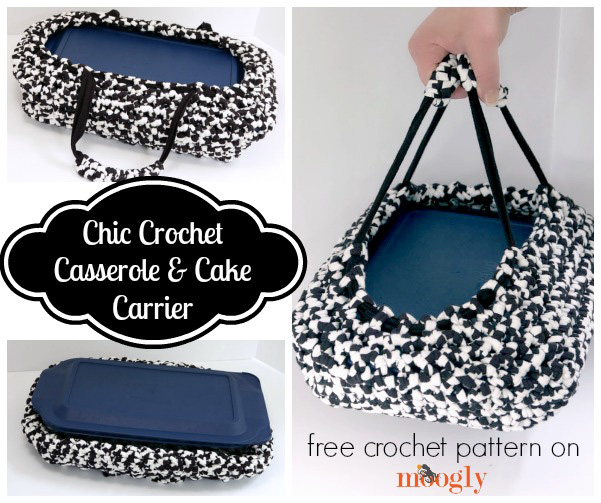 #Crochet the Chic Casserole & Cake Carrier and you'll be all set for your next potluck or BBQ... except for the cooking of course! Free pattern from Mooglyblog.com