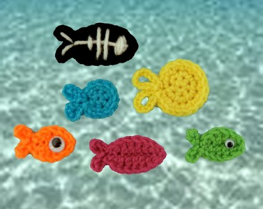10 free crochet ocean applique patterns from fish to anchors fish appliques ccuart Choice Image
