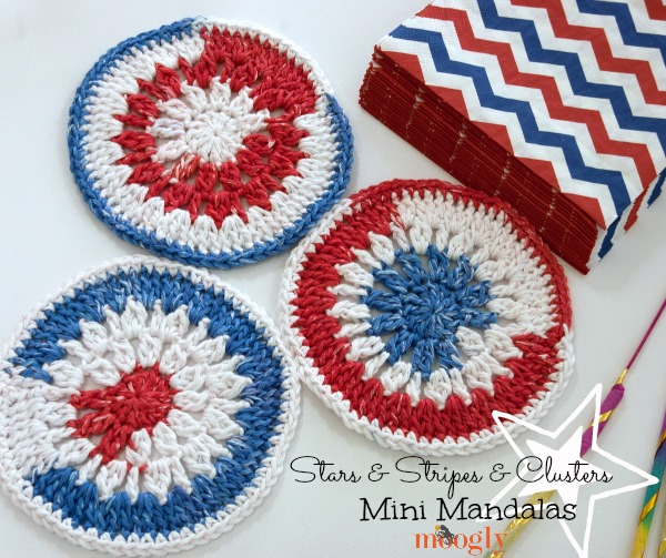 Stars & Stripes & Clusters Mini Mandalas - free #crochet pattern on Mooglyblog.com