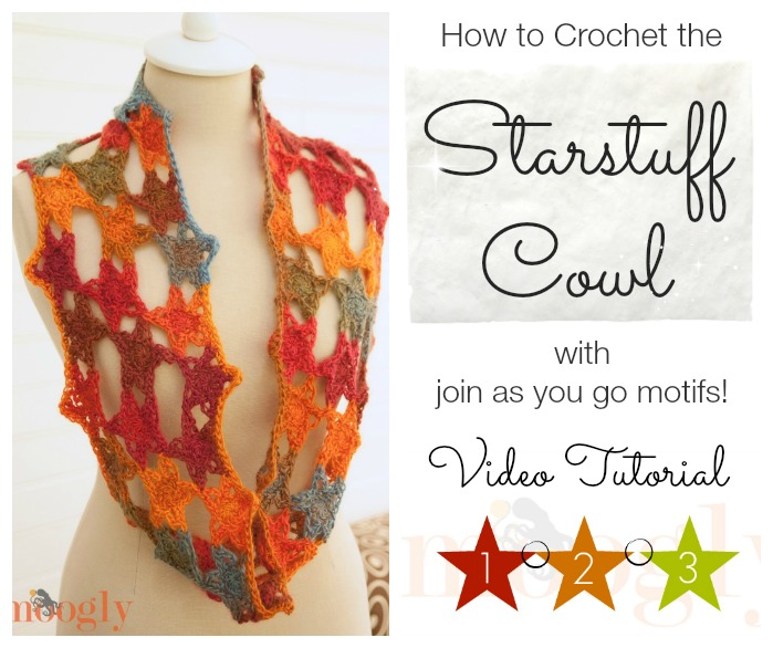 Learn how to #crochet the Starstuff Cowl with join as you go motifs! Video tutorial on Mooglyblog.com