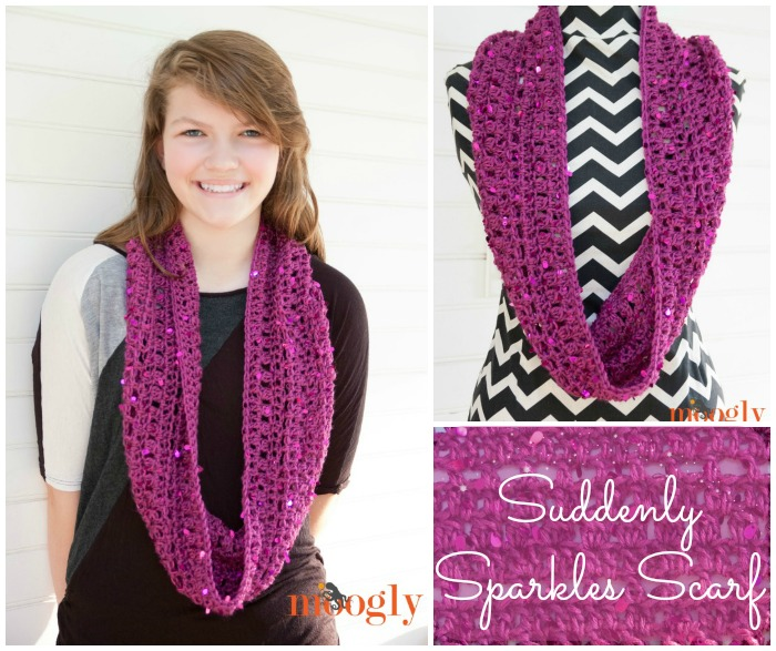 Suddenly Sparkles Scarf - free one skein #crochet pattern on Mooglyblog.com