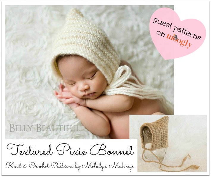Textured Pixie Bonnet - Free #Knit and #Crochet Patterns by Melody's Makings, on Mooglyblog.com