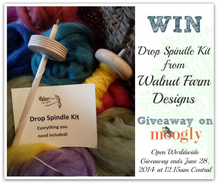 Win a Drop Spindle Kit from Walnut Farm Designs on Moogly! Open worldwide, giveaway ends 7/28/14 at 12:15 am Central.