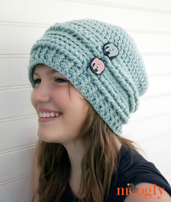 61d34d3ad37 Ups and Downs Slouchy Beanie - free  crochet pattern on Mooglyblog.com with  a