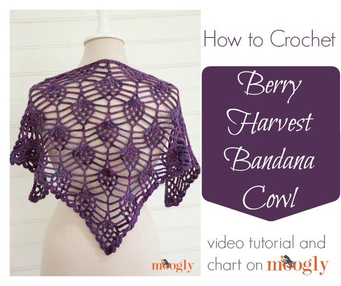 Berry Harvest Bandana Cowl - Free #crochet pattern video tutorial and chart on Moogly!