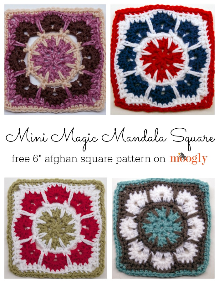 "Mini Magic Mandala Square - free 6"" #crochet afghan block pattern on Moogly!"