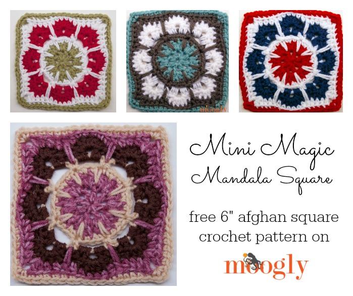 "Mini Magic Mandala Square - free 6"" #crochet afghan block pattern on Moogly!"