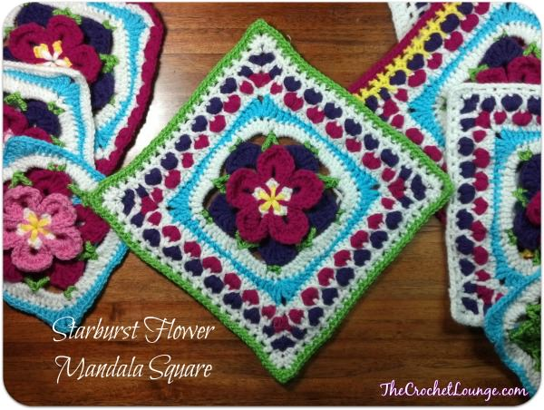 Starburst Flower Mandala Square: Moogly Afghan CAL 2014 Block #22!