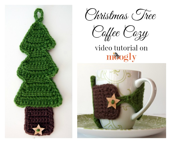 Christmas Tree Coffee Cozy  free crochet pattern with video tutorial