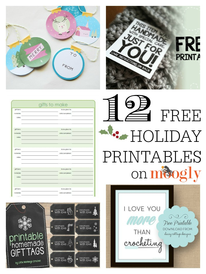 12 Free Holiday Printables! For crocheters, crafters, and everybody! On Mooglyblog.com