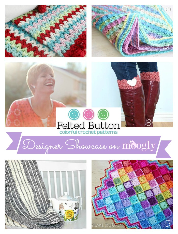 Felted Button on the Moogly Designer Showcase - 5 free #crochet patterns included!