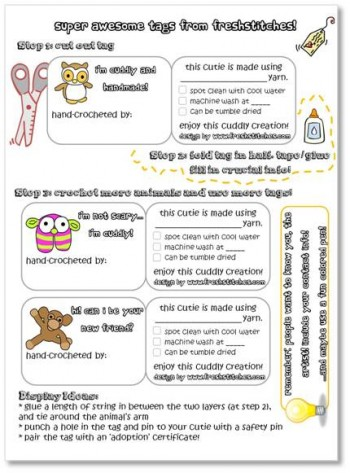 Amigurumi Care Instructions : Free Holiday Printables for Crocheters, Crafters ...
