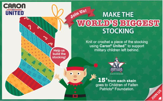 Help Yarnspirations Make the World's Biggest Stocking to help support the Children of Fallen Patriots Foundation!