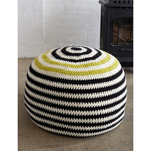 Graphic Stripes Pouf by Yarnspirations!