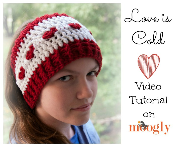 Love is Cold Ear Warmer - free #crochet pattern in 2 sizes on Moogly - and now with a Video Tutorial!