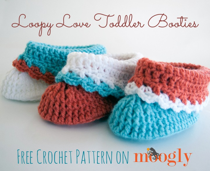 Free #Crochet Pattern: Loopy Love Toddler Booties! - Moogly