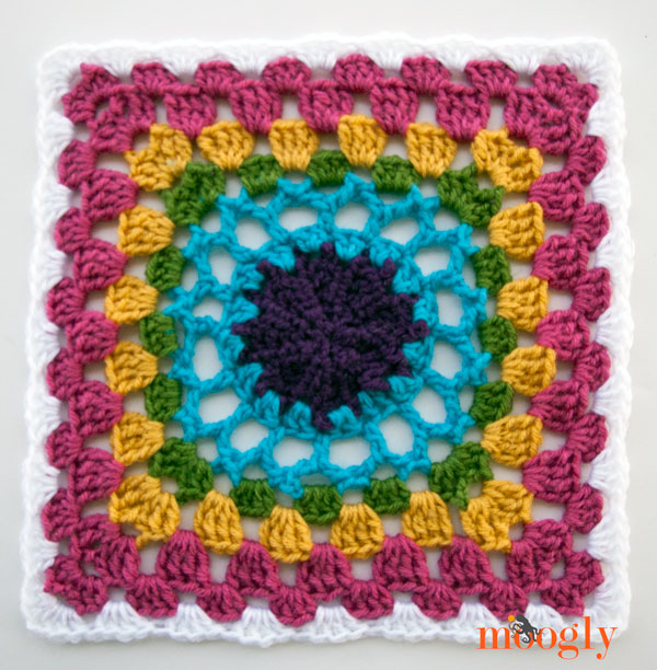 Block #6 for the 2015 Moogly Afghan CAL - Solstice Sun Rising!