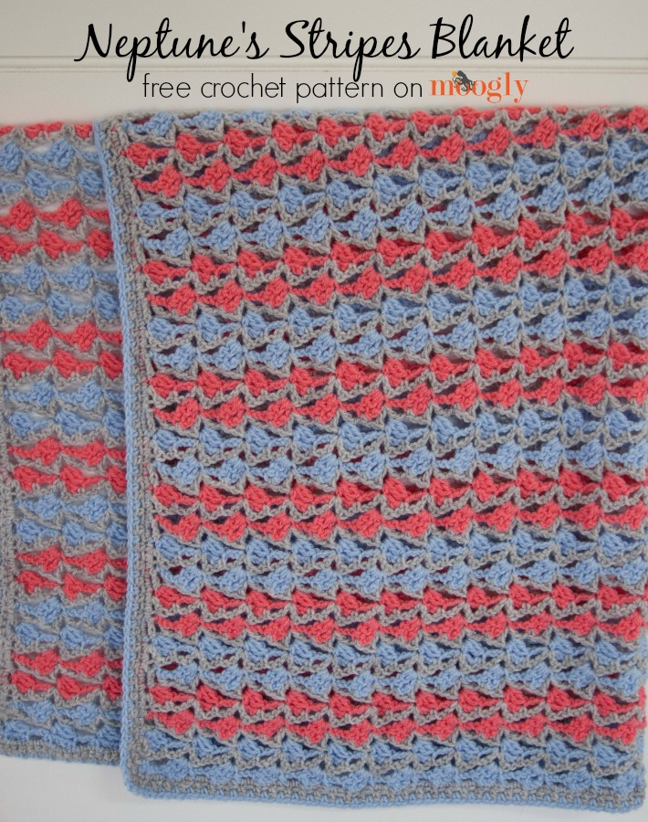 Neptune's Stripes Blanket - free crochet pattern in 5 sizes on Moogly!