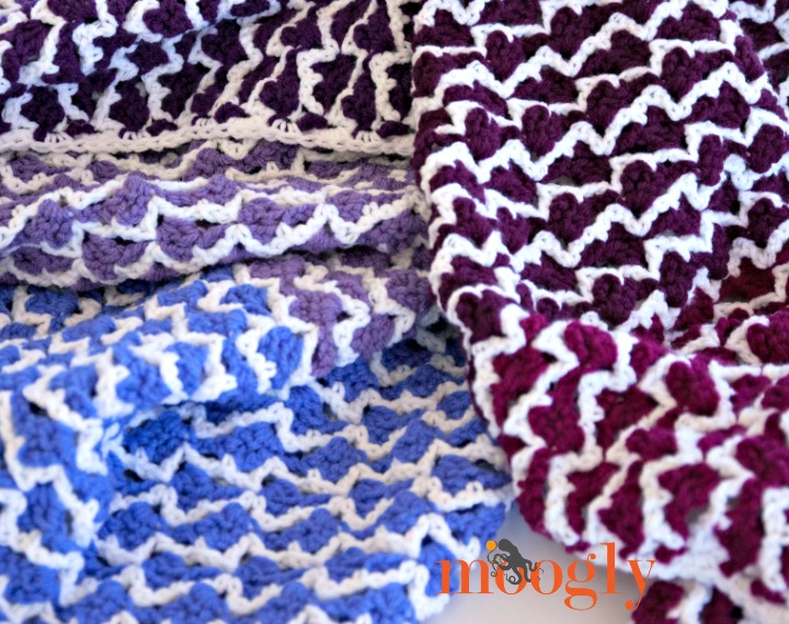 Ombre Arrows Afghan - FREE crochet pattern on Moogly! Variety of sizes included!