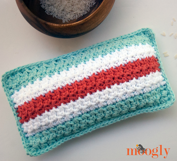 Mod Stripes Rice Bag - crochet pattern by Moogly! #diy #home #health