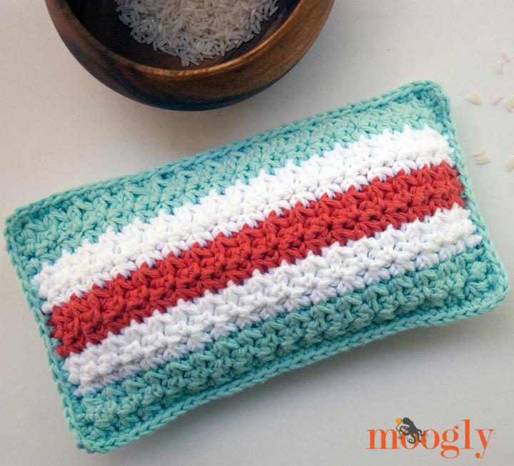 Mod Stripes Rice Bag - crochet pattern by Moogly! #diy #home #health