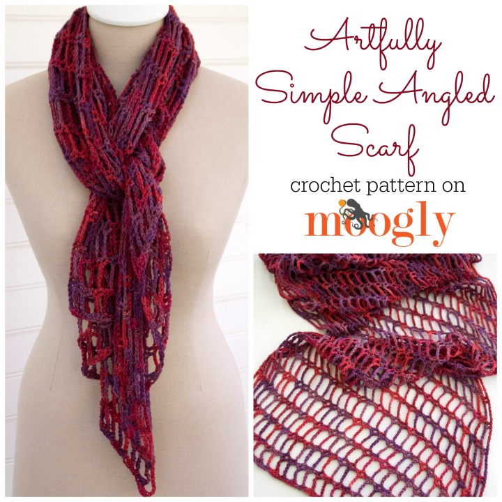 Artfully Simple Angled Scarf Free Crochet Pattern On Moogly