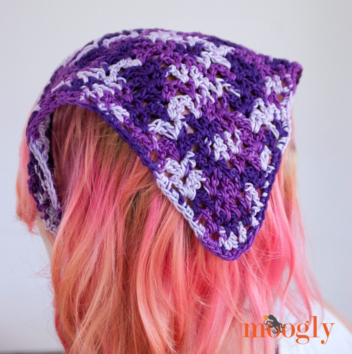 Crochet Hair Kerchief Pattern : Lazy Summer Kerchief - free #crochet pattern on Mooglyblog.com in 4 ...