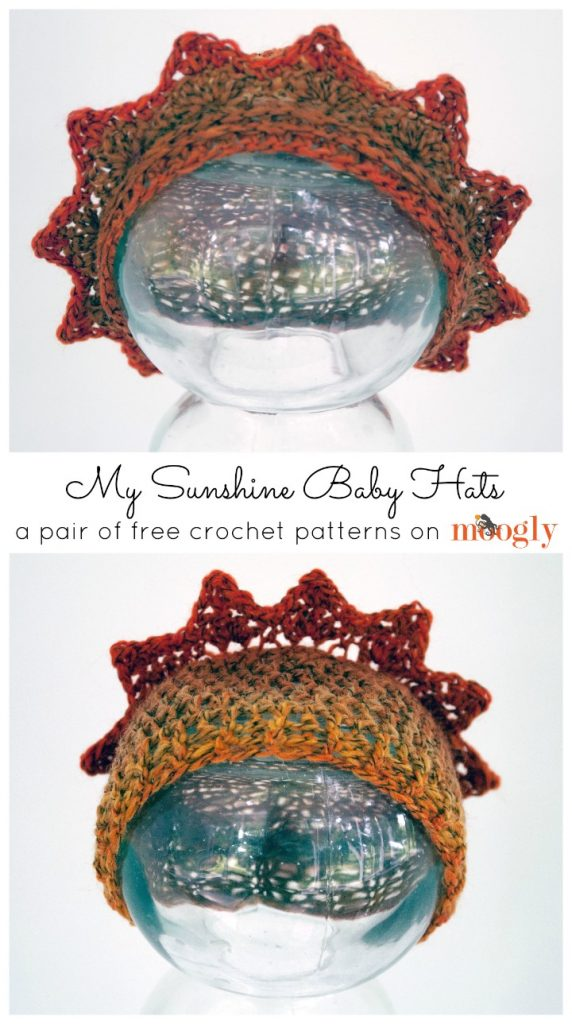 My Sunshine Baby Hats - super cute newborn-3 month size hat pattern on Moogly!