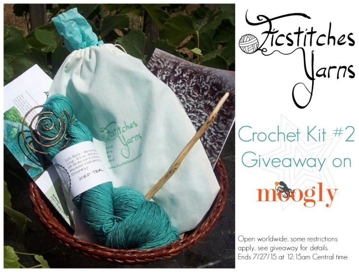 Ficstitches Yarn Club Kit #2 Giveaway! A fab crochet kit with yarn, book, pattern, and more! Ends 7/27/15 at 12:15am.