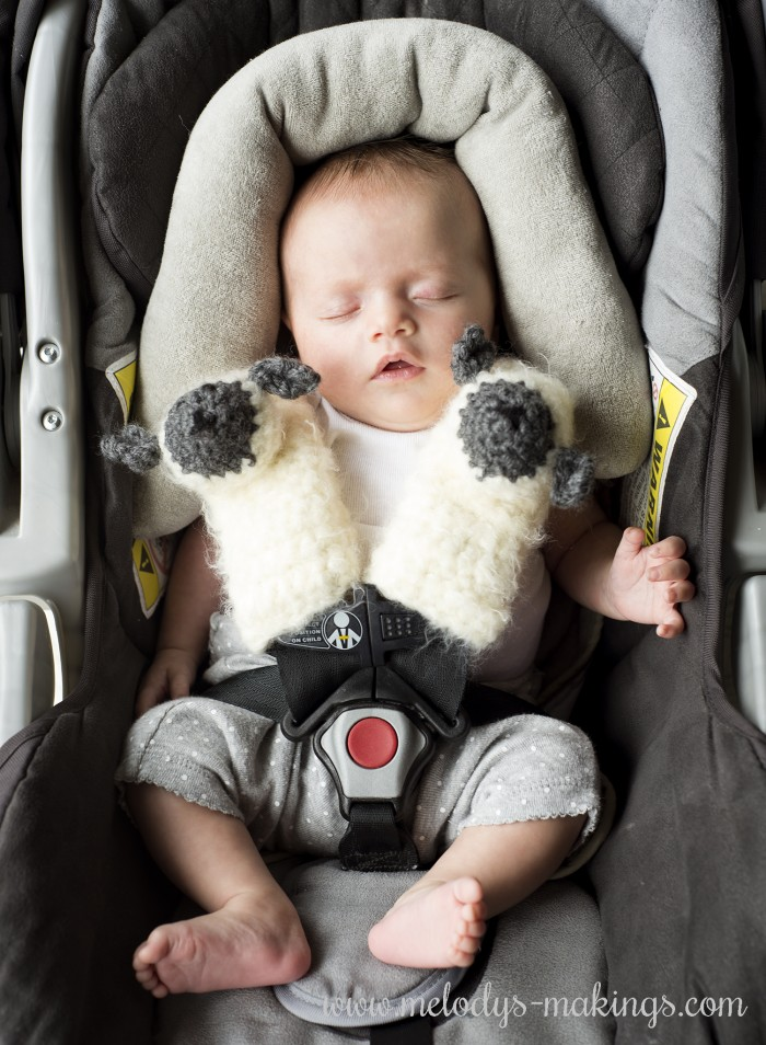 Lamb Car Seat Strap Covers FREE Crochet And Knit Patterns From Melodys Makings