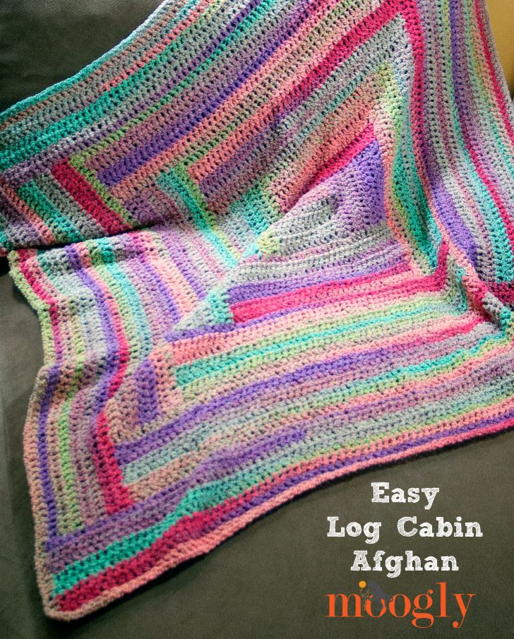 Easy Log Cabin Afghan - free crochet pattern on Mooglyblog.com!