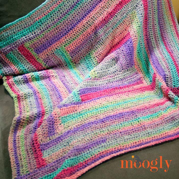 Easy log cabin afghan moogly for Log cabin blanket