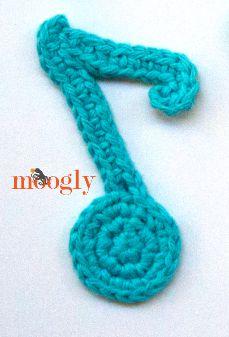 Musical Note Crochet Appliques! Free on Mooglyblog.com