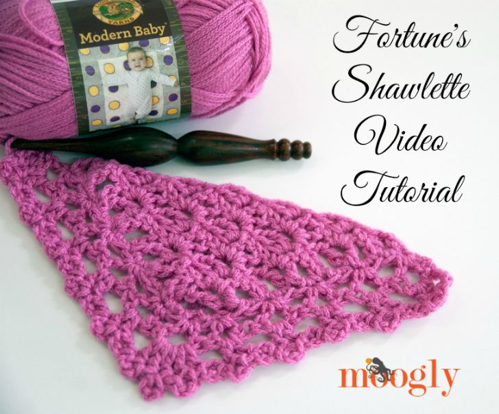 Learn how to crochet Fortune's Shawlette with a video tutorial by Moogly!