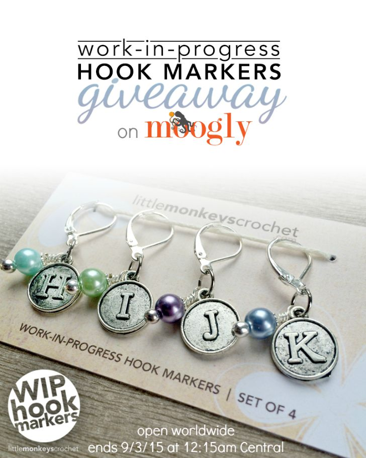 Work-In-Progress Hook Markers - Giveaway on Moogly! Never forget which hook you were using! Open worldwide, ends 9/3/15