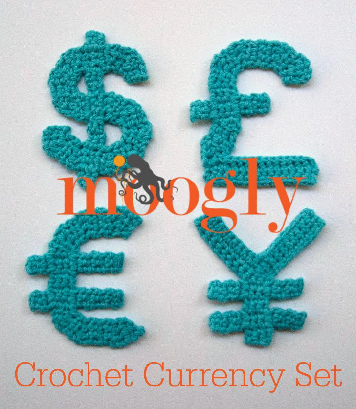 Crochet Currency Appliques - crochet your own money symbols from these FREE crochet patterns on Mooglyblog.com!