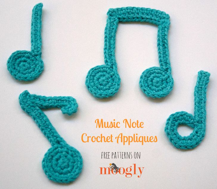 Free Crochet Patterns For Music Notes : Music Note Crochet Appliques - moogly