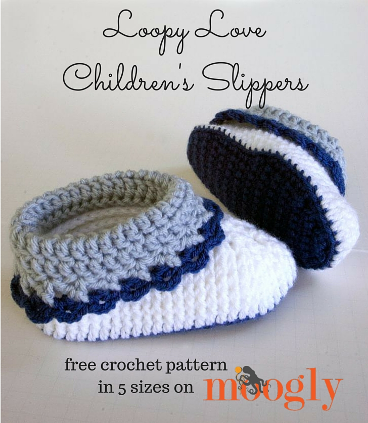 Free Crochet Pattern Loopy Love Childrens Slippers