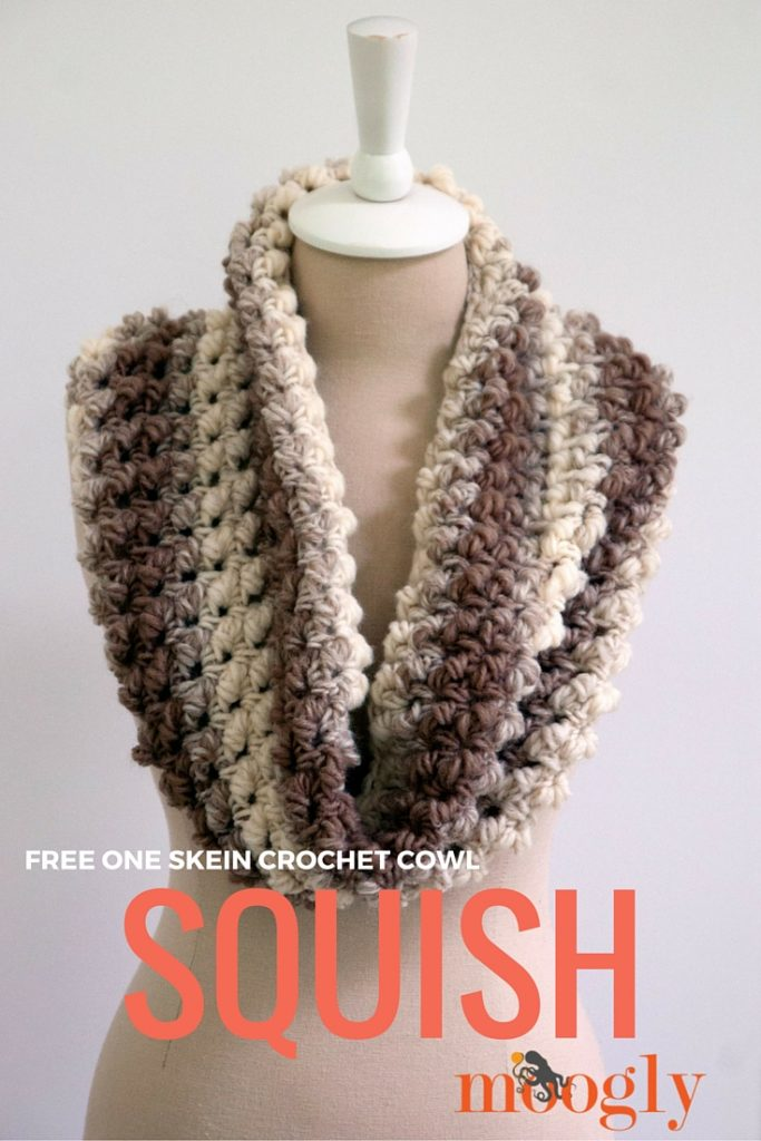 Crochet Patterns Scarfie Yarn : Squish - one skein crochet cowl! Free pattern on Mooglyblog.com