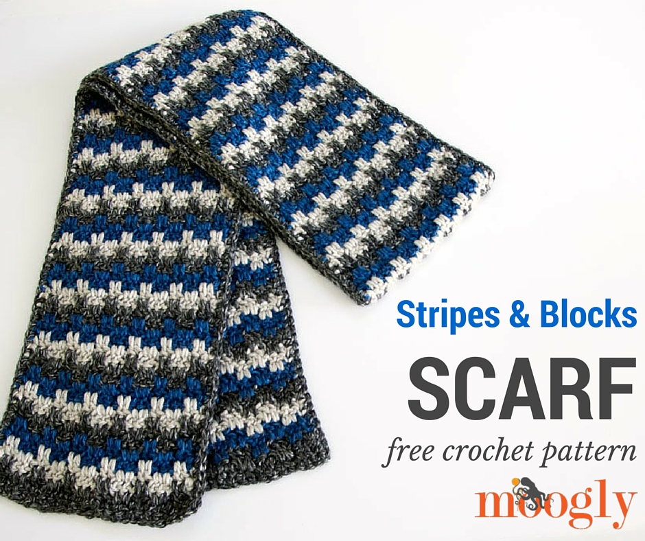 Free Crochet Pattern Striped Scarf : Stripes and Blocks Scarf - moogly